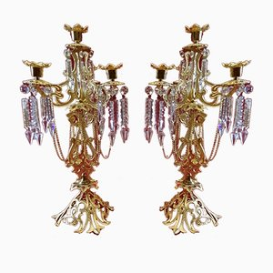 Candelabri antichi in bronzo, set di 2