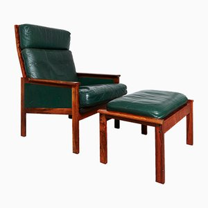 Mid-Century Rosewood & Leather Armchair with Ottoman by Illum Wikkelsø for Niels Eilersen