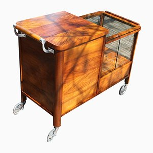 Art Deco Walnut Bar Cart, 1920s
