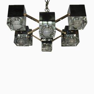 Würfelförmiger italienischer Kronleuchter aus Messing, Glas & verchromtem Metall von Gaetano Sciolari, 1970er