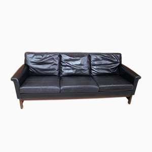 Black Leather Sofa, 1970s