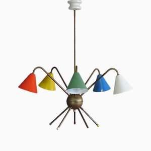 Italian Atomic Chandelier with Five Lights, 1950s