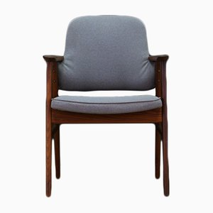 Vintage Danish Teak Armchair with Gray Upholstery
