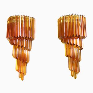 Applique da parete grande in vetro di Murano ambrato, anni '80, set di 2