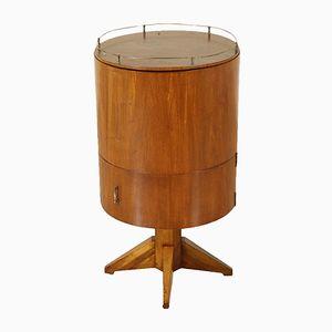 Amerikanischer Vintage Barschrank mit Holzfurnier & Messing, 1950er