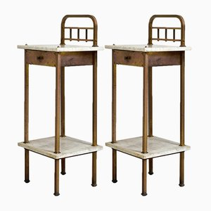 Art Deco Nightstands with Marble Tops, 1920s, Set of 2