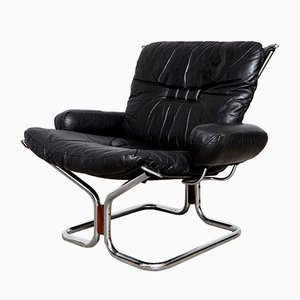 Vintage Leather Armchair by Ingmar Relling for Westnofa