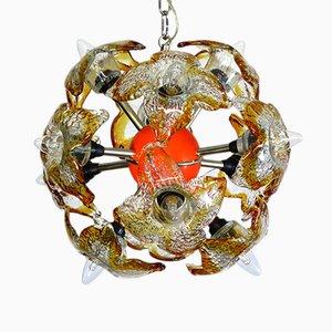 Lámpara de araña Sputnik italiana de cristal de Murano de Mazzega, 1978