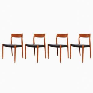 Vintage 77 Stühle aus Teak von Niels Otto Møller für J.L. Møllers, 4er Set