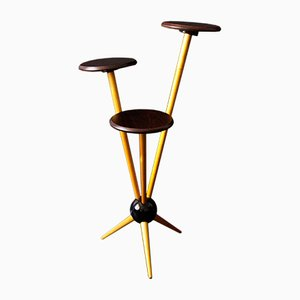 Atomic Wooden Plant Stand, 1950s
