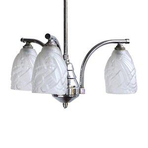 Lámpara colgante Mid-Century de metal cromado con pantallas esmeriladas