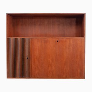 Wall-Mounted Teak Secretary with Bar Cabinet, 1960s