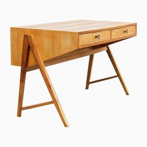 Zweifarbiger Schreibtisch aus Esche & Nussholz, 1950er