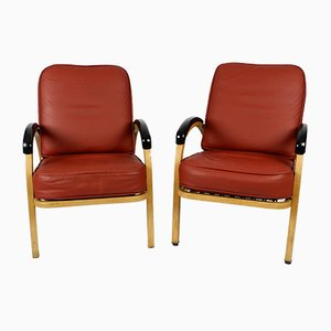 Leather & Metal Lounge Armchairs by Norman Bel Geddes for Simmons Company U.S., 1940s, Set of 2