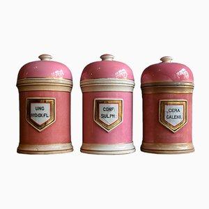 Frascos de farmacia grandes de cerámica del siglo XIX. Juego de 3