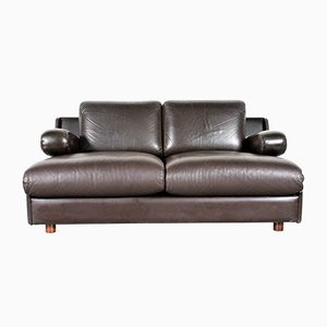 Model 704 Two-Seater Sofa in Chocolate Brown Leather from Leolux, 1970s