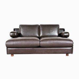 Modell 704 2-Sitzer Sofa in dunkelbraunem Leder von Leolux, 1970er