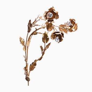Lámpara de pared floral francesa de tole, años 50