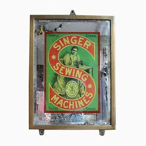 Antique Advertising Mirror Sign from Singer