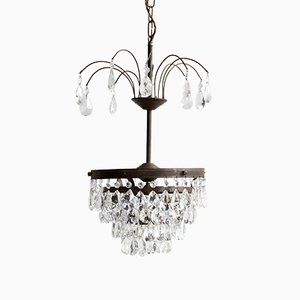 Small Mid-Century Waterfall Chandelier with Cut Crystal Pear Drops