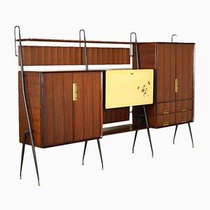 Vintage Teak & Brass Cupboard by Silvio Cavatorta, 1960s