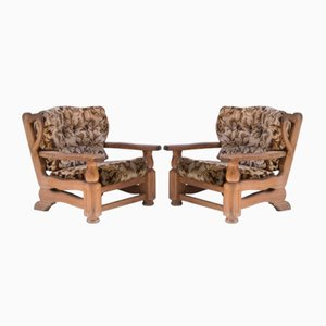 Oak Lounge Chairs, 1940s, Set of 2
