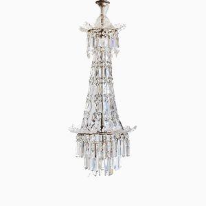 Englischer Kronleuchter aus Kristallglas, 1920er