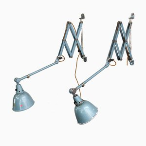 Industrial Wall Mounted Scissor Lamps by Curt Fischer for Midgard, 1950s, Set of 2