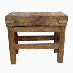 Antiker englischer Metzgerblock aus Platanenholz