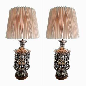Grandes Lampes de Bureau Mid-Century avec Abat-jours Plissés, États-Unis, Set de 2