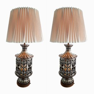 Large Mid-Century American Table Lamps with Pleated Shades, Set of 2