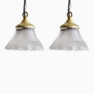 Vintage Frill Tulip Hanging Lamps, Set of 2