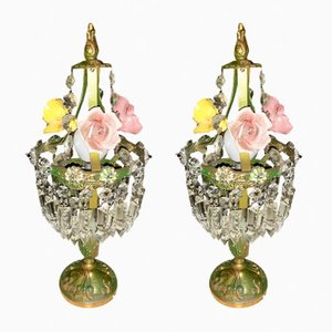 Vintage Crystal Porcelain Flower Table Lamps, Set of 2
