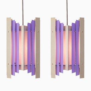 Lampes à Suspension en Métal Violet et Argenté par Preben Dahl pour Hans Følsgaard Elektro A/S, 1960s, Set de 2
