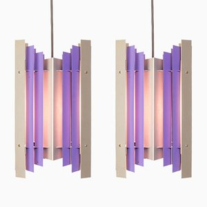 Pendant Lights in Purple & Silver Metal by Preben Dahl for Hans Følsgaard Elektro A/S, 1960s, Set of 2