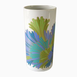 Porcelain Vase with Stylized Flowers by Rosamunde Nairac for Rosenthal, 1960s
