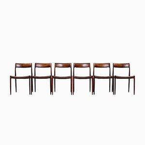 Chaises de Salle à Manger Modèle #77 Vintage en Palissandre et Cuir par Niels Møller pour J.L. Møllers, Set de 6
