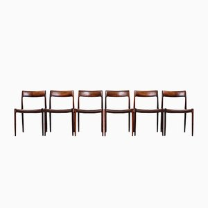 Vintage Rosewood & Leather Model #77 Dining Chairs by Niels Møller for J.L. Møllers, Set of 6