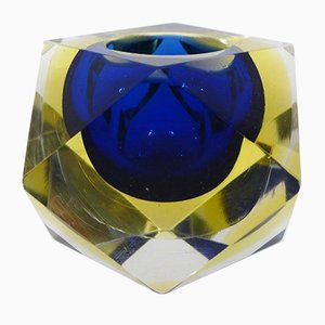 Blue & Yellow Murano Glass Ashtray with Cut Sides, 1960s