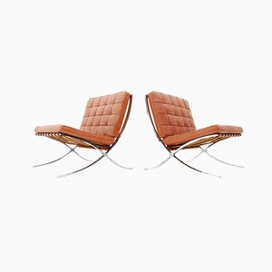 Barcelona Chairs by Ludwig Mies van der Rohe for Knoll, 1950s, Set of 2