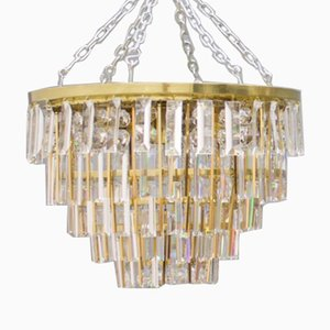 German Crystal Glass Flush Mount Chandelier from Palwa, 1970s