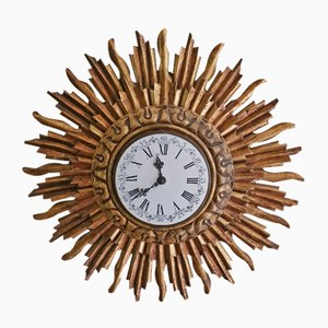 Giltwood Sunburst Wall Clock from Stijlklokkenfabriek C.J.H. Sens en Zonen, 1960s