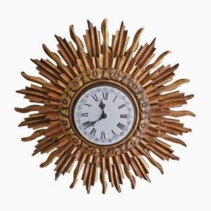Horloge Murale Soleil en Bois Doré de Stijlklokkenfabriek C.J.H. Sens en Zonen, 1960s