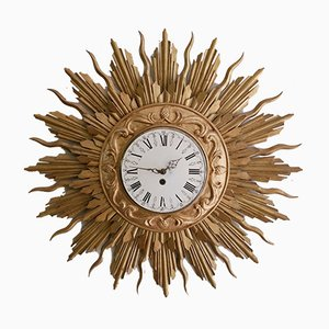 Large Giltwood Sunburst Wall Clock from Stijlklokkenfabriek C.J.H. Sens en Zonen, 1960s