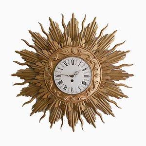 Reloj de pared grande en forma de sol de madera bañada en oro de Stijlklokkenfabriek C.J.H. Sens en Zonen, años 60