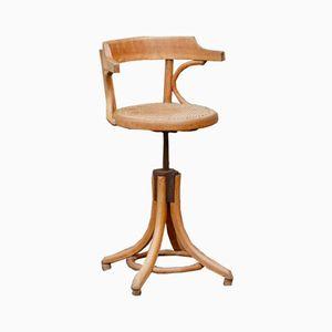 Sedia da barbiere vintage in legno curvato