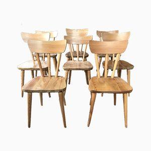 Sedie da pranzo in pino, Scandinavia, anni '50, set di 8