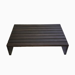 Solid Wengé Slat Coffee Table, 1970s