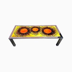 Tavolino da caffè Mid-Century in ceramica e cromato, anni '60