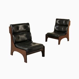 Vintage Italian Mahogany Leather Armchairs, 1970s, Set of 2